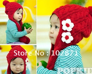 HOT ! Autumn & Winter knitted Lovely Flower baby crochet scarf Hats Ear muff cap , winter hats , baby crochet ear hat