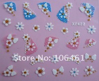 Free shipping 3D false nail sticker  Nail Art Decals French Sticker Decoration mix color xf422