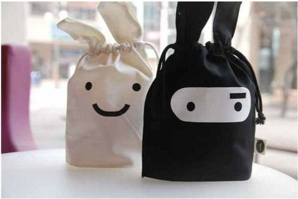 storage bags Ninja Rabbit objects travel pouch handy 24*22cm Snack many facial Pouch black and white 10pcs/lot