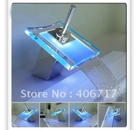 RGB LED LIGHT GLASS WATERFALL FAUCET KITCHEN BASIN BATHROOM SINK MIX TAP FAUCET
