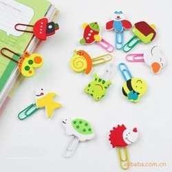 New free shipping cartoon wooden paper clips paperclip bookmarker cute painting animals assorted styles(China (Mainland))