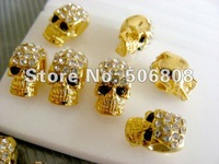 7 X 12MM Wholesale Gold Tone With Crystal Rhinestones Beads In Skull Shape, Skull Beads Jewelry Findings 50PCS/LOT
