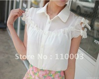 Puff Sleeve T-shirt of a solid color shirt  A350