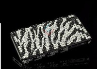 DHL Free Shipping Zebra Bling Rhinestone Diamond Hard Back Cover Case For iphone 4 4S  100pcs/lot .