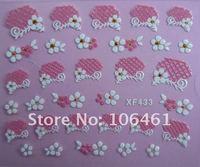 Brand new france butterflies false nail sticker 3D art nail decal xf433 mix color