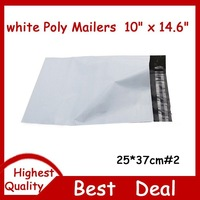 100 PCS  10 x 14.6 Inch 250x370mm WHITE POLY MAILERS SHIPPING ENVELOPES BAGS