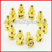 10 Pcs Gold BNC Male Plug to RCA Female Straight adapter Plated