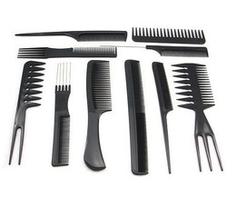 Free shipping 1set/10pcs Salon Barbers Hair Styling Hairdressing hair accessories Plastic Comb Stylist Set Black Tool(China (Mainland))