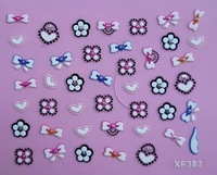 Free Shipping 3D bowknot &flower  nail stickers art nail decal Mix color lots XF387