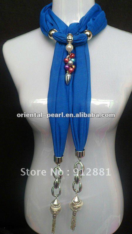 2012 fashion scarf beaded scarf necklace(China (Mainland))