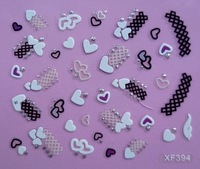 2012 Hot varies different design with diamond french style 3D nail sticker free shipping mix color XF394
