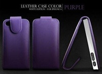 Free Shipping Wallet Credit ID Card Vertical Flip Leather Case Cover Pouch for iPhone 4 4S