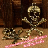 Hot~68mm Zinc-Alloy/Metal Beads,Antique Bronze Pendant Necklace Skull charms,Handmade DIY Jewelry accessories
