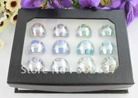 12PCS Mixed Colours Lampwork Polish Foil Spot Glass Rings #21932