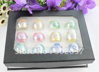 12PCS Mixed Colours Lampwork Whirlpool Polish Glass Rings #21934