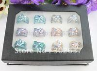 12PCS Mixed Colours Lampwork Starfish Glass Rings #21936