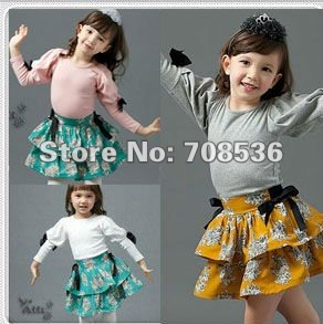 Free Shipping  New Fashion Palace Long sleeve with bow  t shirt  for girls and children, Kid t- shirt / tops gray,white,pink