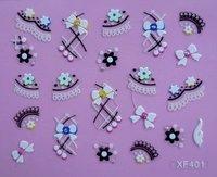 Free shipping cheap 3D bowknot & flower nail sticker art  decal xf 401