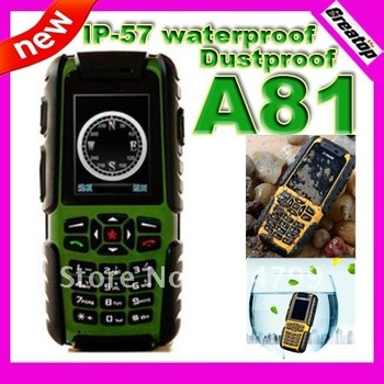 100% Original U-mate A81 IP-57 waterproof dustproof mobile phone quad band dual sim outdoor phone russian keyboard potional