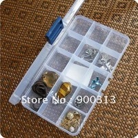 (Min order$10) 2 PCS 15-Grids Jewelry Display Storage Box Beads Display Holder Case