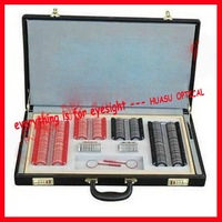 Old Store New Price! 158-P2 Ophthalmic trial lens set with colorful plastic rim+ black leather case