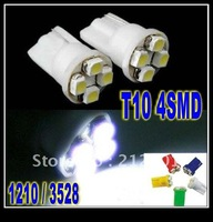 Freeshipping Wholesale T10 4SMD 3258 0r 1210 Car 194 168 192 W5W LED Light Automobile Bulbs Lamp Wedge Interior Light