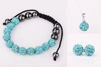 Shamballa bracelet stud Earrings Turquoise Crystal Ball pendant Necklace jewelry Set  Wholesale