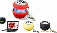 120pcs/ctn wholesale Speaker Key ring Mini apple Speaker Computer fittings speaker sound box 200g/pc With 3.5MM USB line