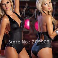 FREE SHIPPING.Wholesale sexy lingerie Teddies (12pc/lot)Cheap women's lingerie Adult Body suit Studded Romper Black 3119