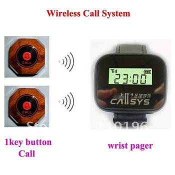 Low price Wireless calling system ; wireless wrist pager system ; 1pcs wrist pager+15pcs call buttons