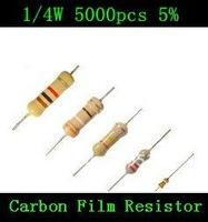 Resistor 1/4W 0.25W Watt 820 ohm 820ohm Carbon Film Resistor 1/4W  5%  5000PCS Free shipping