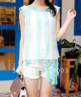 Elegant pearl inlay shoulder round neck T-shirt A388