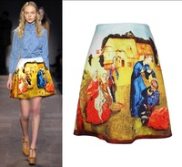 New Fashion Luxurious Vintage Oil Painting Skirt European Stylish Women Mini Dresses SS12326 Free Shipping Wholesales