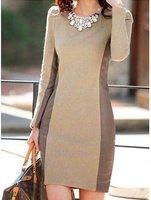 Slim skirt wool stitching long-sleeved dress  A409