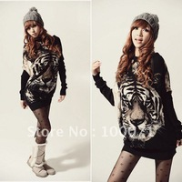 New Women Tiger Pattern Loose Long Bat Wing Sleeve Shirt Top Blouse  [20441|01|01]