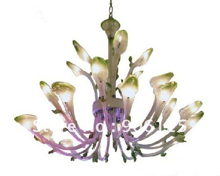 New Italian Calla lily Glass Flower Chandelier 16 Light Murano