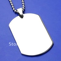 Free shipping Stainless Steel Military Dog Tag Flat Blank Bead Pendant Chain Necklace Men's 19''l Christmas Jewelry Gift