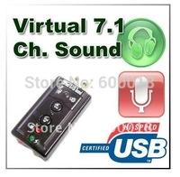 USB Mic/Speaker 7.1 Channel 3D Audio Sound Card Adapter  50pcs/lot