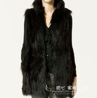 Peach 2012 autumn and winter faux fur coat fashion normic medium-long leather vest  V671
