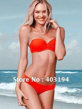 2012 Free Shipping Ladies Women Brand Bandeau Bikini Beachwear Swimwear Bathing Suit Bather 5 Colors S M L Orange