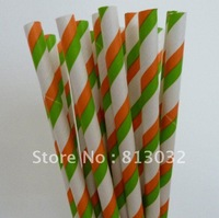 New arrival wholesale Free shipping paper straws,striped Paper Straws, double colour,orange and green, 500pcs/lot