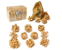 Free shipping of 10pcs a lot  set wooden brain teaser puzzles bamboo puzzle with elegant gifts box