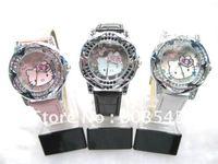 Free Shipping Fashion Hellokitty Watch Quartz Watches Crystal wristwatch for Women Children  Girls watch Sample