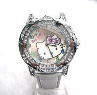 10PCS/Lot Free Shipping Fashion Hellokitty Watch Quartz Watches Crystal wristwatch for Women Children  Girls watch