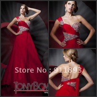 Best Selling Fashion Sexy One Shoulder Red Chiffon Full Length Tony Bowls Prom Dress Evening Gown 2012 Custom Made