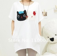 Cartoon cat pattern loose curved hem round neck long T-shirt  A463