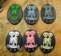 Hot selling~30*40mm 100pcs Resin Skull pendants,resin flower cabochon,resin Skeleton cameo,DIY Fashion resin jewelry