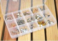 Plastic 15 Slots Jewelry Adjustable Tool Box Case Craft Organizer Storage Beads Plastic Storage Box Jewelry Tool Container
