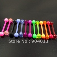 Free Shipping 100pcs/lot flexible mixed color  tongue barbell ring tongue 1.6x16x5mm soft  body piercing jewelry