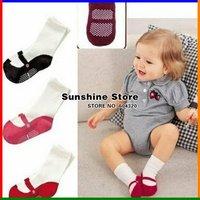 Sunshine store #2S1005 12pair/lot 2012 New Design 3 designs Baby socks infant cotton socks/Girl's socks 3 colors  baby wear CPAM